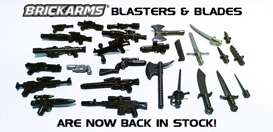 Brickarms Blasters and Blades are back in Stock!
