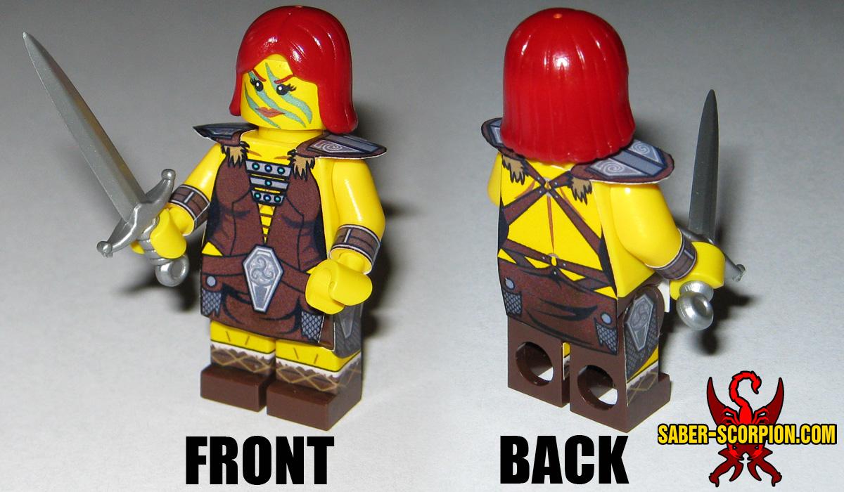 Custom LEGO Minifigure: Fantasy Female Barbarian