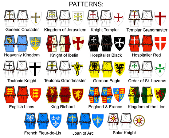 Custom LEGO Minifigure Knight Decals Tabard and Shield Heraldry