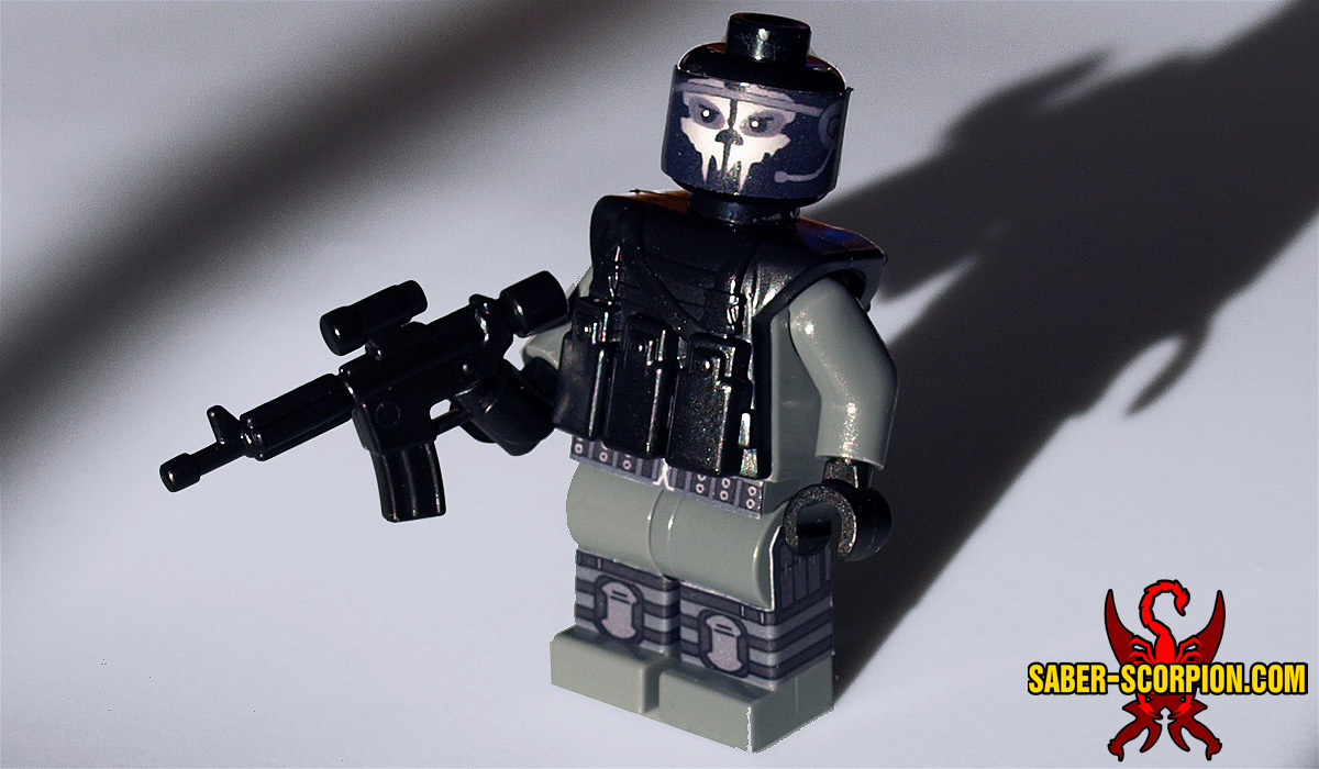 Custom LEGO Minifigure: Skull-Face Black Ops Soldier