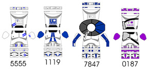 Space Wars Custom LEGO Minifigure Decals: Star Troopers