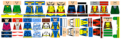 Custom Minifig Decals: Superhero Mutant Team